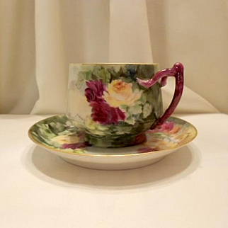 Lovely Limoges Hand Painted Cup & Saucer;  Rich Roses