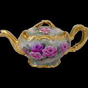 Exquisitely Beautiful Limoges Tea Pot; Wonderful Roses; Superb Gold