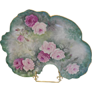 Wonderful Limoges Rococo Dresser Tray; Curving Mold; Rich, Beautiful Roses