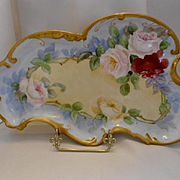 Beautiful Limoges Ornate Dresser Tray;  Red, Pink & Yellow Roses