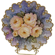 Outstanding Limoges Rare Plate Mold; Gorgeous Yellow Roses