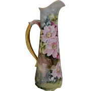 Lovely & Graceful Limoges Ewer; Pink & Ruby Wild Roses