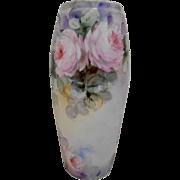 Very Lovely Bavarian Vase; Soft Painterly Pink Roses