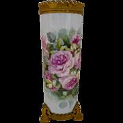 Excellent Limoges Guerin Cylinder Vase; Factory Decorated with Metal Gargoyle Base & Rim