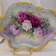 Gorgeous Limoges 1911 Hand Painted Tray; Superbly Painted Roses on a Rococo Mold