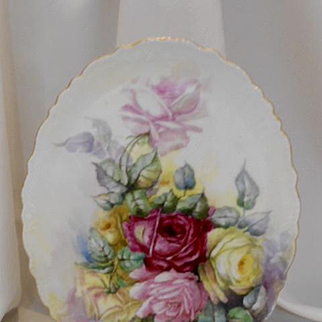 Eye Catching Limoges Scalloped Tray; Red, Pink & Yellow Roses