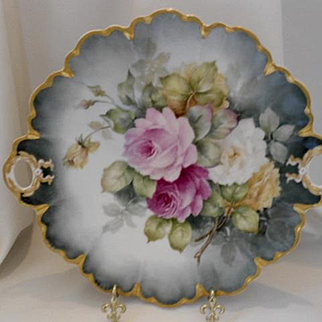Superbly Painted Limoges Handled Charger/Plate; Outstanding Roses