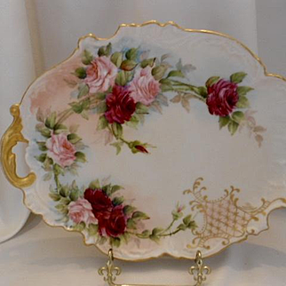 Exquisite Limoges One Handled Ornate Tray; Red & Pink Roses; Scroll & Lattice Work