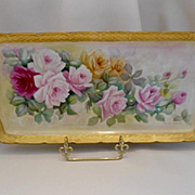 Long & Lovely Czech Tray; Hand Painted Cascading Roses