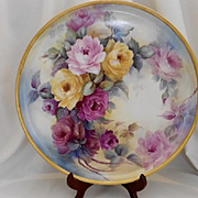 """Fantastic 16"""" Limoges Tray; Superbly Painted Roses"""