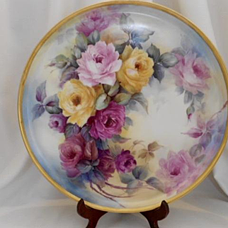 "Fantastic 16"" Limoges Tray; Superbly Painted Roses"