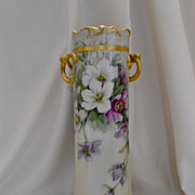 "Outstanding Large Limoges 15"" Twisted Handled Vase; Beautiful Summer Clematis"