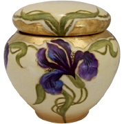 Excellent 1901 Hand Painted Humidor; Art Nouveau Irises