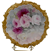 Beautiful Hand Painted Limoges Plate with Rococo Edge; Roses