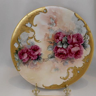 Gorgeous Limoges Plate; Deep Pink Roses; Heavy Gold; Scroll & Beading