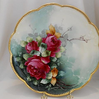Superb Limoges Donath Hand Painted Charger; Exquisite Red Roses