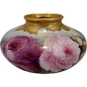 Beautiful Bulbous & Squat Vase; Huge Roses; Outstanding Gold