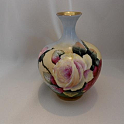 Adorable Austrian Bud Vase; Very Vivid and Colorful Roses on a Kaleidoscope Background