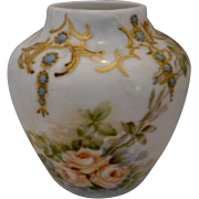 "Wonderful Haviland Limoges Vase; Soft Peach Roses; Raised Paste Turquoise ""Jewels""; Gold Scroll"