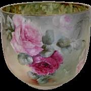 Big & Beautiful Limoges Large Jardiniere; Vibrant, Fat Roses & Leaf Design