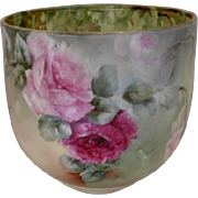 Big & Beautiful Limoges Large Jardiniere; Vibrant, Fat Roses & Leaf Design