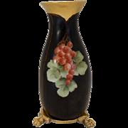 Delightful Bavarian  Currants on Black Vase with Footed Plinth/Base