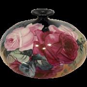 Gorgeous CAC Belleek Squat Vase; Huge Roses; Exquisite Colors