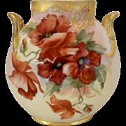 Gorgeous Limoges Pillow Vase; Vibrant Crimson Poppies; Heavy Gold, Scroll & Lattice