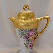 Beautiful Limoges Tall Chocolate Pot; Gorgeous Roses; Ornate Mold