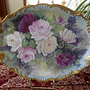 Gorgeous Limoges Roses & Lilacs Large Tray; Wonderful Colors & Thick Gold