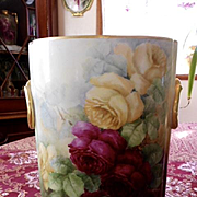 Superb Limoges Footed Cache Pot; Vibrant, Rich Roses; Heavy Gold