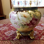 Exquisite Limoges Jardiniere & Base/Plinth; Roses, Clematis and Raised Paste Scroll Work