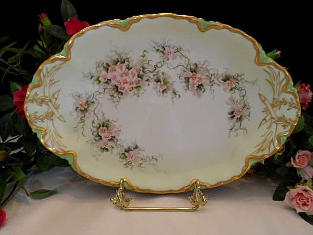 Very Lovely Haviland Tray; Dainty Violets; Heavy Gold;Beautiful Mold