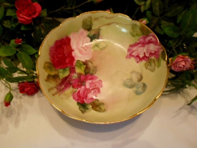 Striking, Rich Limoges Footed Bowl; Roses; Rococo; Ornate; Scalloped