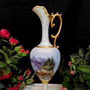 Beautiful, Graceful European 1905 Nouveau Ewer; Handpainted Mountain Forest Scene; ARtist; Dated