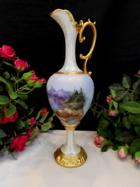 Beautiful, Graceful European 1905 Nouveau Ewer; Handpainted Mountain Forest Scene; ARtist; Dated