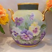 Striking, Beautiful Limoges Pillow Vase; Profusion of Colorful Pansies
