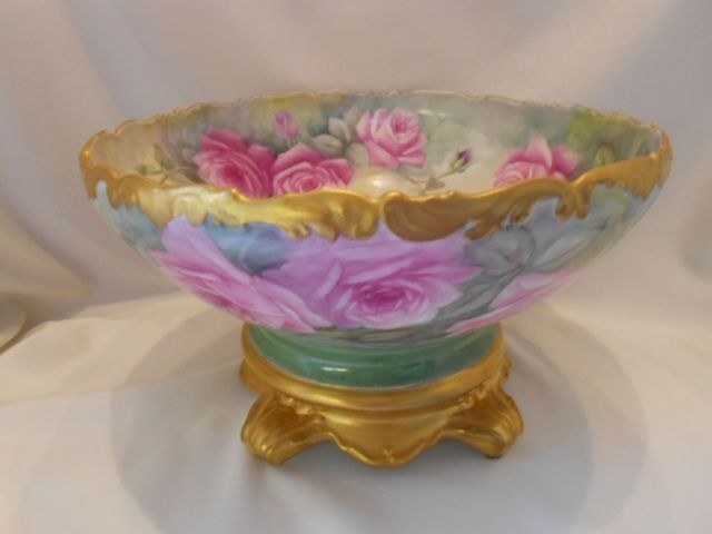 Huge, Spectacular Limoges Punchbowl & Base/Plinth; ALL OVER ROSES