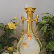 Wonderful White's Studio Art Nouveau Handled Vase; Artist, Tulips, Gold