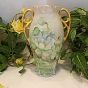 Wonderful MZ Austria Nouveau Handled Vase; Magical Water Lillies