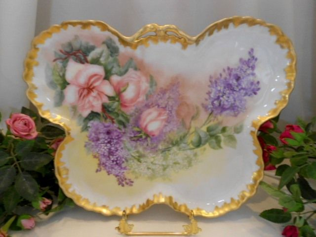 Outstanding Limoges 1896 Butterfly Shaped Tray;Roses & Lilacs;  Artist; Dated