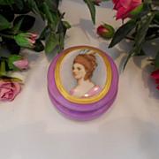 Gorgeous Limoges Handpainted Trinket Jar; Beautiful Woman Portrait