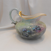 Beautiful, Unusual Belleek Handled Pitcher; Hand Painted Juniper Berries