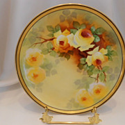Lovely, Warmly Painted Alfred Bronssillon/Broussilon Plate; Yellow Roses