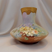 Beautiful Limoges Squat Bulbous Vase; Slender Neck; Soft Yellow Roses