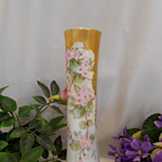 Sweet & Pretty 1897 Limoges Vase; Pink Violets; Heavy, Rich Gold; Raised Paste Turquoise Jewels