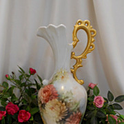 Tall & Stately Germany Ornate Ewer/Vase; Gorgeous Handpainted Chrysanthemums