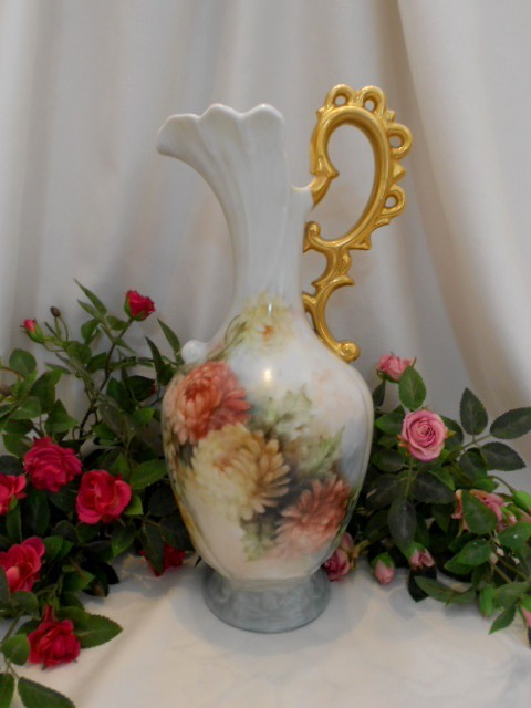 Tall & Stately Ornate Ewer/Vase; Gorgeous Handpainted Chrysanthemums