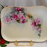 Beautifully Painted Limoges Dresser Tray; Cascading Roses