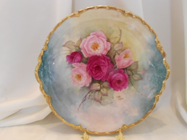 Stunning, Large Haviland Limoges Ranson Charger; Rich, Luscious Roses